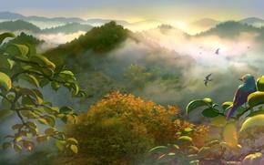 Картинка лето, горы, аниме, арт, птичка, yuliuyang