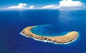Обои море, облака, синий, остров