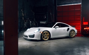Обои porsche, 911, turbo s, white, supercar, power, light