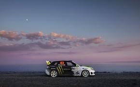 Картинка берег, вечер, Subaru, Impreza