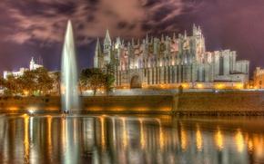 Картинка стена, собор, фонтан, Испания, набережная, водоём, Spain, Majorca, Palma, Кафедральный собор Санта-Мария, Ла Сеу, Cathedral …