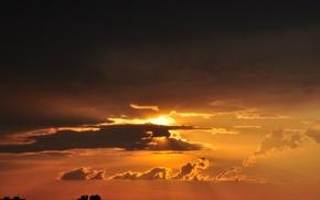 Картинка лето, небо, солнце, облака, закат, город