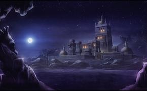 Картинка ночь, город, огни, скалы, луна, арт