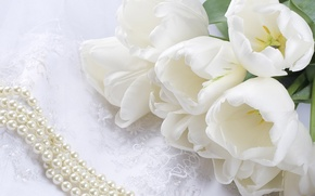 Картинка цветы, букет, тюльпаны, жемчуг, бусы, белые, кружево