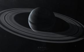Картинка космос, пространство, темно, планета, кольца, звёзды, Gailis