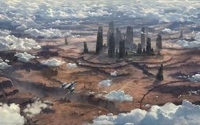 Картинка фантастика, здания, планета, корабли, game wallpapers, Star Citizen
