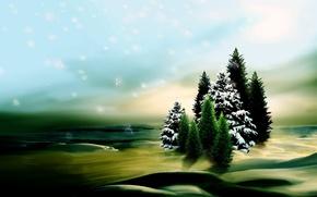 Картинка зима, небо, елки, ели, ёлки