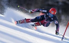 Обои ski, sportswear, snow, race, speed