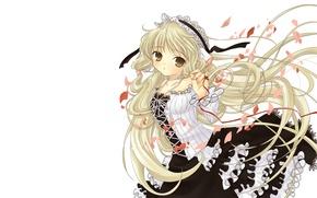 Картинка лепестки, девочка, белый фон, белые волосы, красная нить, оборки, ободок