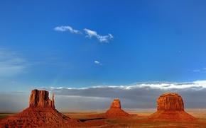 Картинка небо, облака, горы, скалы, США, долина монументов