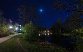 Картинка дорога, ночь, луна, moon, Nature, road, night