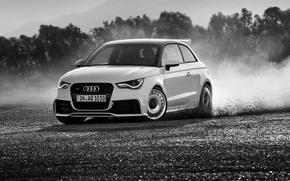 Картинка Audi, Ауди, Занос, Чёрно-белое, quattro