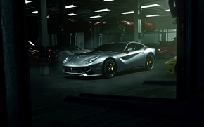 Обои ferrari, f12berlinetta, supercar, garage, f12