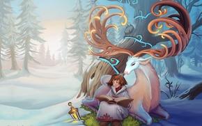 Картинка зима, лес, дерево, олень, арт, девочка, фонарь, рога, книга, Alexandra Semushina