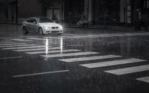Картинка машина, дождь, улица, автомобиль, BMW M3