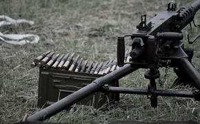 Картинка оружие, пулемёт, станковый, machine gun, Браунинг M2, патронная лента