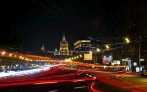 Картинка ночь, Москва, Россия, Russia, Moscow, night light, Кутузовский проспект