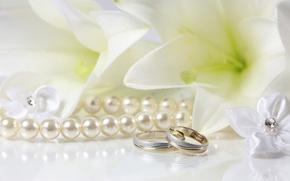 Картинка лилии, кольца, жемчуг, свадьба