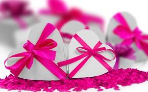 Картинка сердце, лента, сердечки, love, бант, heart, romantic, Valentine's Day