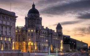 Картинка здание, Англия, HDR, вечер, фонари, Liverpool