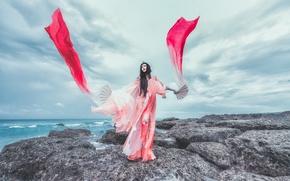 Обои море, стиль, цвет, платье, ткань, азиатка