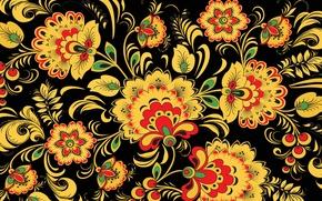 Картинка листья, цветы, желтый, ягоды, фон, узоры, узор, Россия, Хохлома