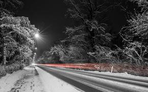 Картинка огни, дорога, ночь, зима