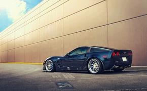 Картинка стена, Corvette, Chevrolet, парковка, ZR1, blue, rear