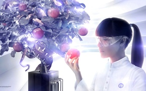 Картинка креатив, дерево, яблоко, очки, змей, ева, desktopography, плод, вариация