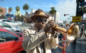 Картинка стиль, музыка, улица, шляпа, джаз, очки, мужчина, темные, jazz, артист