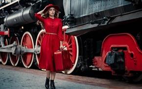 Картинка стиль, Алина Турова, ситуация, паровоз, чемодан, красное платье, девушка, шляпка, модель, перрон