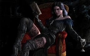 Обои Yennefer of Vengerberg, Yen, Yennefer, вино, Yenna, книга, Witcher, девушка, cd projekt red, The Witcher ...