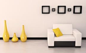 Картинка белый, желтый, яркий, дизайн, стиль, комната, диван, черный, интерьер, подушка, форма, квартира, вазы, рамки