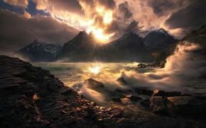Картинка волны, солнце, брызги, прибой