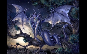 Картинка ночь, крылья, существо, чешуя, хвост, рога, Демон, полнолуние, змеиные глаза, химера