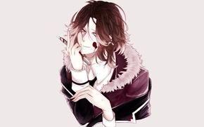 Картинка кровь, аниме, арт, нож, вампир, Diabolik Lovers, дьявольские возлюбленные, Sakamaki Laito