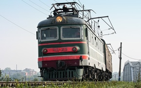 Картинка лето, рельсы, поезд, локомотив