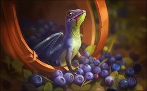 Обои Александра Хитрова, фентези, GaudiBuendia, арт, дракончик, дракон, ягоды