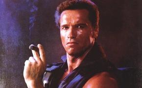 Обои мужик, Arnold Schwarzenegger, Коммандос, актер, Commando, Арнольд Шварценеггер, John Matrix, сигара