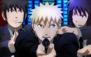 Обои sugoi, strong, revolver, boy, ninja, suit, tie, by tedeik, kunoichi, Uzumaki Naruto, hero of Konoha, ...