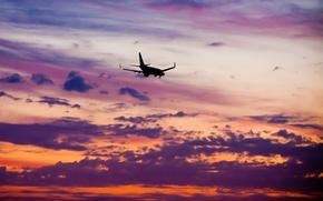 Картинка небо, облака, полет, закат, высота, вечер, Самолет, пассажирский