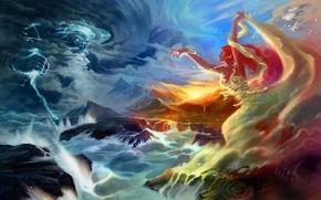 Картинка море, девушка, горы, молния, чайки, буря, арт, боги, битва, jian guo