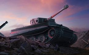 Картинка Закат, Небо, Облака, Тигр, Камни, Камуфляж, World of Tanks, PzKpfw VI Tiger, Мир Танков, Wargaming …
