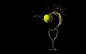 Картинка вино, бокал, яблоко