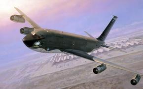 Картинка земля, арт, KC-135, четырёхдвигательный, реактивный, Stratotanker, специализированный, рисунок, самолёт, аэродром, Боинг, многофункциональный, ангары, заправщик, военно-транспортный, ...