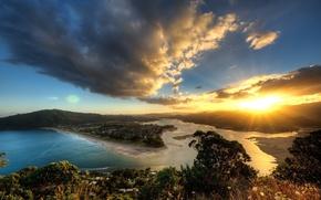 Обои небо, вода, солнце, облака, пейзаж, закат, горы, природа
