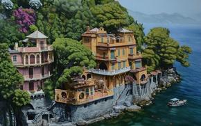 Картинка море, деревья, пейзаж, лодка, дома, живопись