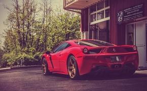 Картинка Красная, Феррари, Зад, Италия, Ferrari, Red, 458, Суперкар, Italia, Supercar, Read