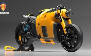 Картинка Concept, Koenigsegg, Yellow, Bike, Wheels, Brake