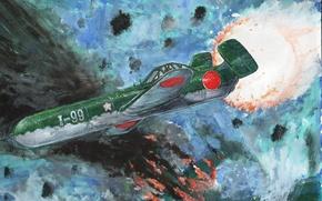 Картинка крылатая бомба, MXY7, война, Ока, Арт, ракета, рисунок, небо, цветок вишни, Ohka, Yokosuka, самолёт-снаряд